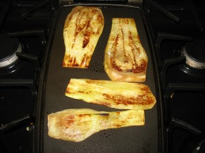 Eggplant frying on the griddle
