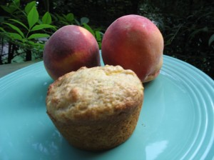 No butter? No milk? No problem. I used vegetable oil and orange juice as substitutions in this recipe for peach muffins this morning.