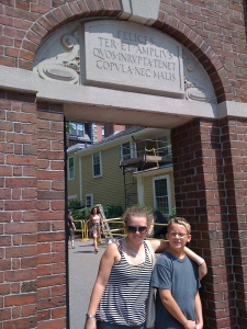 Will and his cousin Chloe (our first visitor!) at one of the Harvard Yard gates