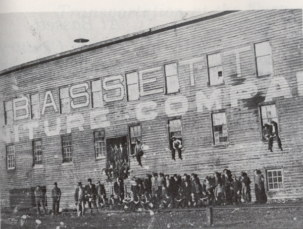 Old Town, the original Bassett Furniture Company factory, circa 1902.