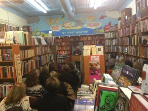 One of my favorite readings, cramming the super-cute Chop Suey Books in Richmond's Carytown, home of Won-Ton, the store cat. November 2014